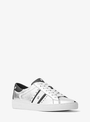 Michael Kors Frankie Studded Metallic Leather Sneaker