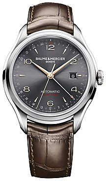 Baume & Mercier Baume& Mercier Baume& Mercier Men's Clifton 10111 Dual Time Stainless Steel& Alligator Strap Watch