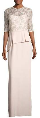 Rickie Freeman for Teri Jon Lace Bodice Peplum Column Gown $680 thestylecure.com