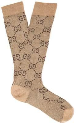 Gucci Gg Intarsia Metallic Cotton Blend Socks - Womens - Beige