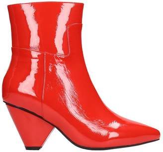 Jeffrey Campbell Red Patent Leather Ankle Boots