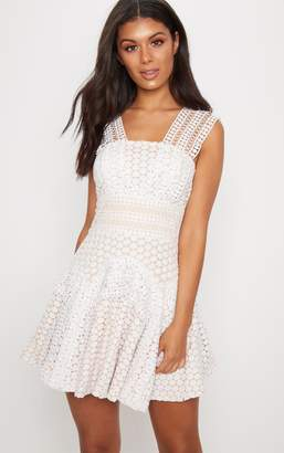 PrettyLittleThing White Lace V Strap Skater Dress