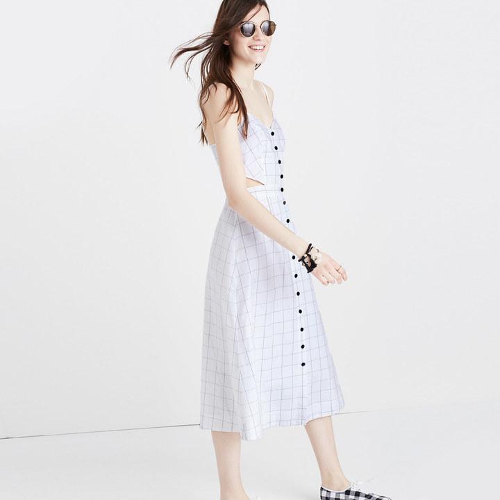 Windowpane Cutout Cami Midi Dress