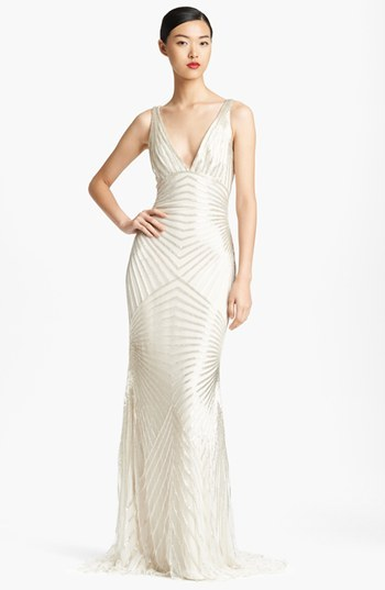 Naeem Khan Low Back Hand Beaded Gown
