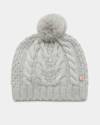 Ted Baker QUIRSA Cable knit wool pom hat