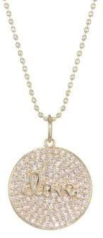 Sydney Evan 14K Yellow Gold& Pave Diamond Love Script Charm Necklace
