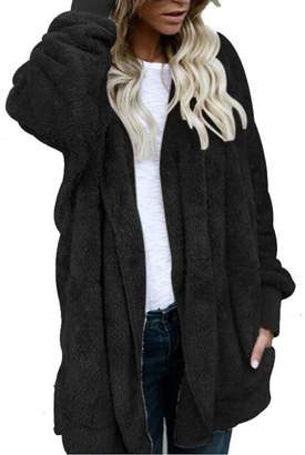 XILALU Women Hoodedpliced Color Coat Jacket Hoodie Parka Outwear Cardigan