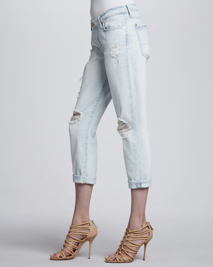 7 For All Mankind Josefina Distressed Light Cuffed Jeans