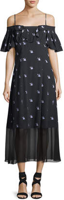 McQ Swallow Off-Shoulder A-Line Dress