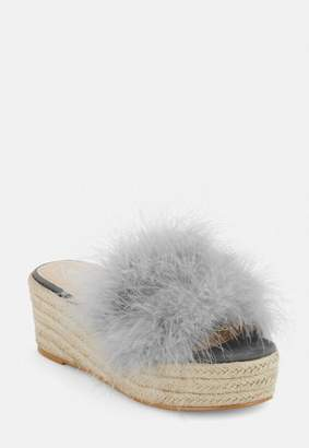 Missguided Grey Feather Flatform Jute Sole Sandals, Grey
