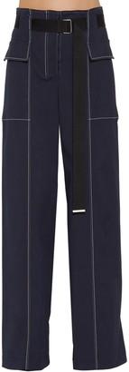 Sportmax WIDE LEG COTTON BLEND PANTS W/ BELT