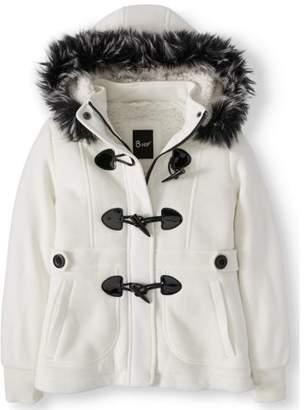 BHIP Sherpa Lined Fleece Toggle Jacket with Removable Fur Trim Hood (Big Girls)