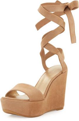 Stuart Weitzman Backtie Suede Ankle-Wrap Wedge Sandal $435 thestylecure.com