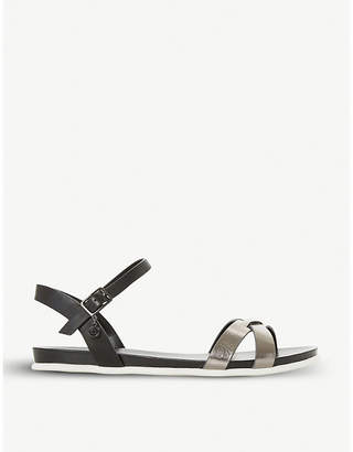 Dune Loco metallic leather sandal