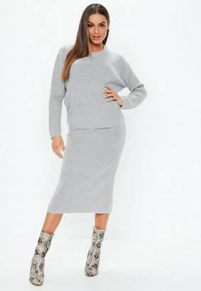 Missguided Gray 2 Piece Ribbed Knit Co Ord Set