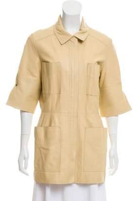 Oscar de la Renta Short Sleeve Leather Coat
