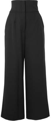 Dolce & Gabbana Cropped Grain De Poudre Wool-blend Wide-leg Pants - Black
