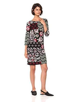 Nine West Women's Bateau Neck 3/4 Sleeve Patchwork Dress