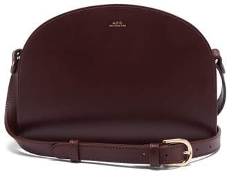 A.P.C. Half Moon Leather Cross Body Bag - Womens - Burgundy