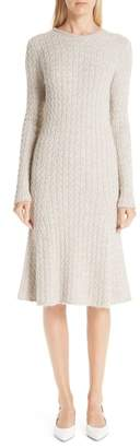 Mansur Gavriel Alpaca & Silk Cable Knit Sweater Dress