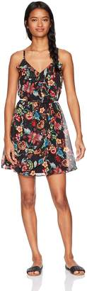 Amy Byer A. Byer Women's Floral Wrap Front Dress with Ruffles