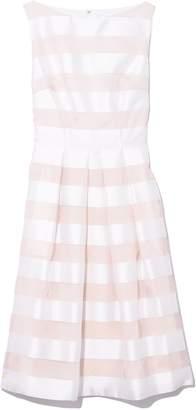 Lela Rose Boat Neck Full Skirt Dress in White