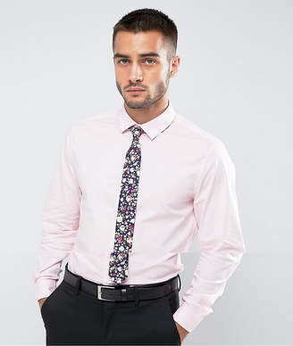 Asos Slim Shirt In Pink With Navy Floral Textured Tie SAVE