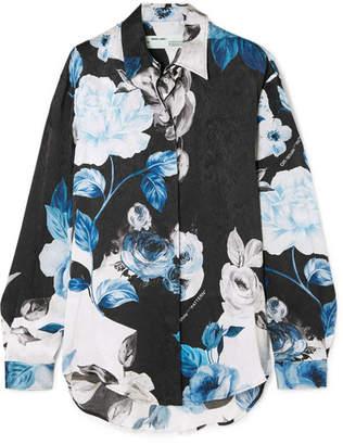 Off-White Floral-print Silk-moire Shirt - Blue