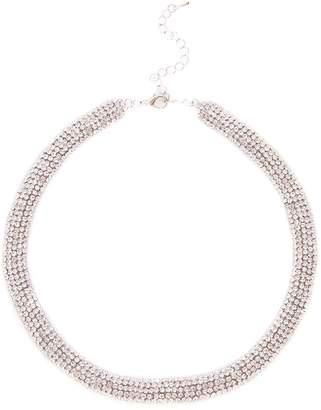 Quiz Silver Diamante Short Necklace