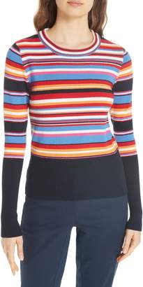 Tory Burch Kit Stripe Scoop Neck Sweater