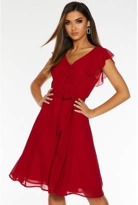 Quiz Berry Chiffon Frill Sleeve Belted Midi Dress