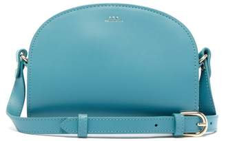 A.P.C. Half Moon Mini Smooth Leather Cross Body Bag - Womens - Light Blue
