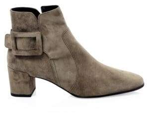 Roger Vivier Polly Block Heel Suede Ankle Boots