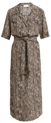 Raey Broken Stripe Print Silk Shirtdress - Womens - Grey Multi