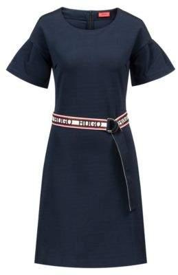 HUGO Boss Tulip-sleeve jersey dress reversible logo-tape belt L Open Blue