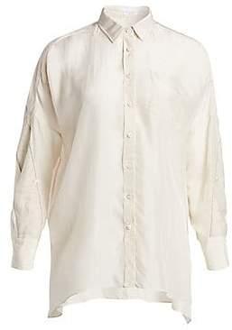 629b6cea2fab05 Brunello Cucinelli Women s Linen-Stripe Silk Shirt