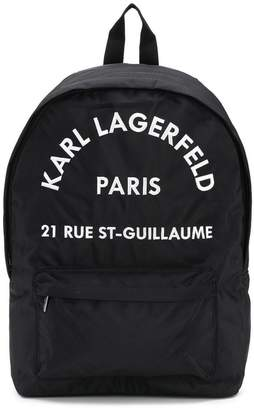 Karl Lagerfeld logo address embroidered backpack