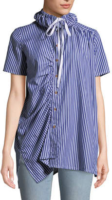 Victoria / Tomas Striped Shirred Button-Down Shirt with Drawstring Collar