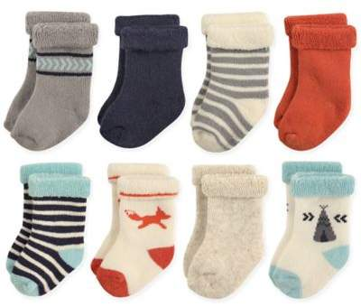 8-Pack Fox Terry Rolled Cuff Socks