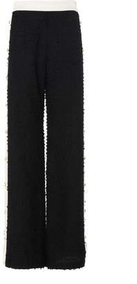 Balmain Contrast Side-Button Wool-Blend Sweatpants