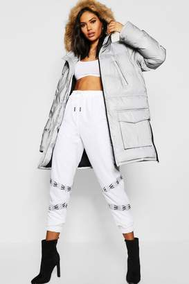 boohoo Reflective Parka With Faux Fur Trim