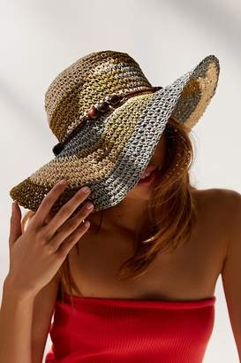 Urban Outfitters Striped Raffia Floppy Hat