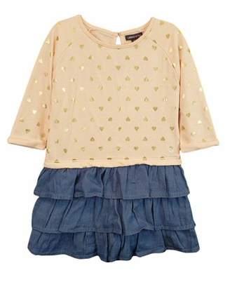 Limited Too Long Sleeve French Terry & Denim Ruffle Dress (Little Girls & Big Girls)