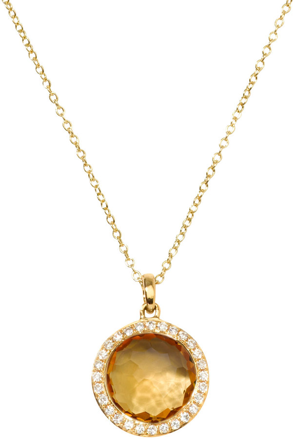 Ippolita Rock Candy 18k Gold Mini Lollipop Necklace in Citrine & Diamond