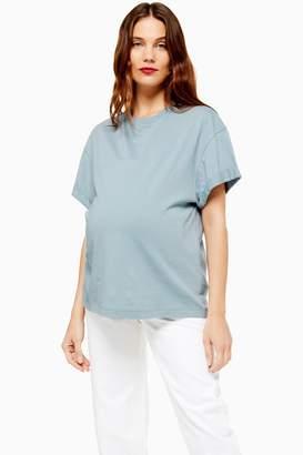 Topshop Womens **Maternity Boxy Roll T-Shirt - Blue