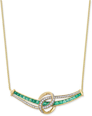 Macy's Emerald (1-3/4 ct. t.w.) and Diamond (1/4 ct. t.w.) Necklace in 14k Gold