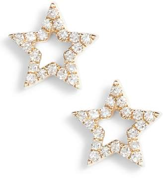 Ef Collection Open Star Diamond Stud Earrings