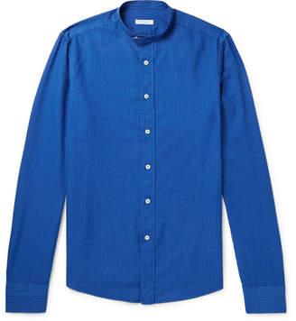 Boglioli Slim-Fit Grandad-Collar Striped Cotton Oxford Shirt