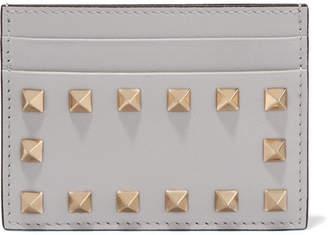 Valentino Garavani The Rockstud Leather Cardholder - Gray