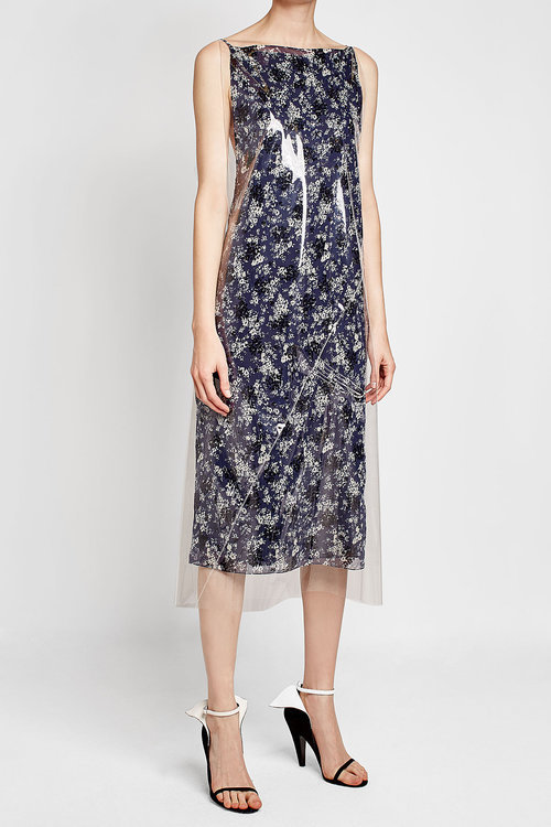 CALVIN KLEIN 205W39NYC Printed Dress with Transparent Overlay
